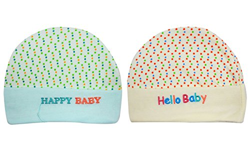 Ole Baby Cute Dot Print Soft Cotton Beautiful Bendable Round Caps Pack of 2 Dimension: W17XL12cms (0-12 Months)  available at amazon for Rs.199