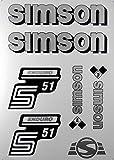 Aufkleber-Set Simson S51 Enduro silber Seitendeckel Tank BJ-Handel