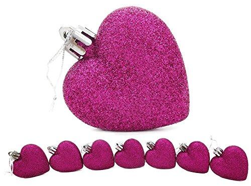 Set di 16glitter e opaco rosa cuori palline per albero di Natale, decorazioni