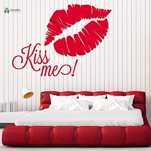woyaofal Vinyl Aufkleber kiss Me Lip Print Romantische Schlafzimmer Nacht Zimmer Home Art Dekoration Aufkleber F 100x75 cm
