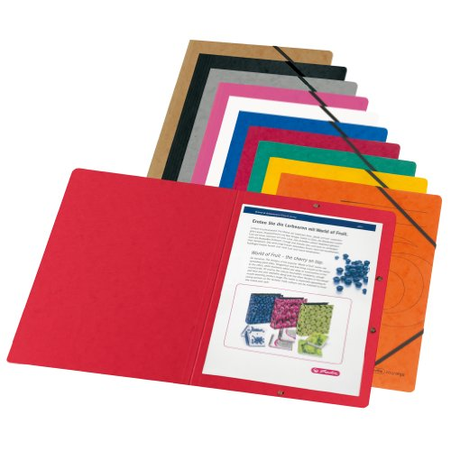 Herlitz 10902872 Eckspanner A4 Colorspan, farbig sortiert, 5er Packung -