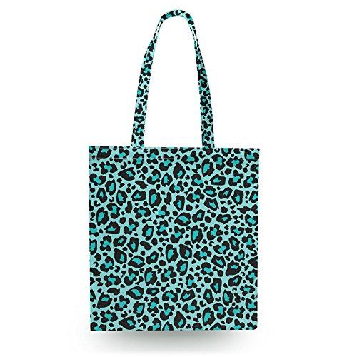 Queen of Cases Bright Leopard Print Teal - Zipper Canvas Tote Bag - Canvas Tote Bag Shopper Tragetasche (Teal Leopard Print)