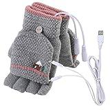 Laptop Frauen Männer USB Beheizte Handschuh Half Finger Winter Warme Strickhandschuhe mit Flip Top (A)