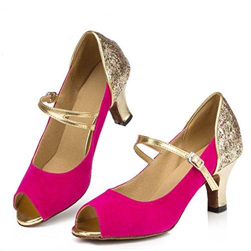 YFF Regalo donne danza scarpe ballo latino ballo tango danza scarpe 7.5cm Rose Red