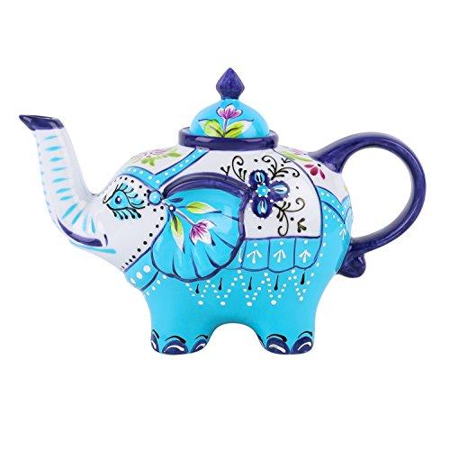 Artvigor, Porzellan Kaffeekanne, Handbemalt, 800 ml Teekanne, Elefant Design Tischdeko, Geschenk -