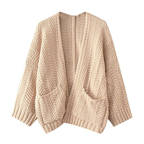 Strickjacke Damen,Dasongff Frauen Stricken Cardigan Langarmshirt Strickjacke mit Taschen V-Ausschnitt Lose Pullover Pulli Jacke Strickmantel (Beige, One size)