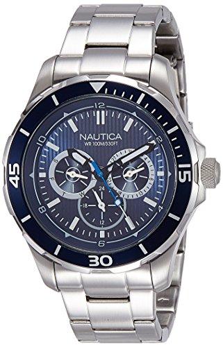 NAUTICA MEN'S NST 10 44MM STEEL BRACELET & CASE QUARTZ ANALOG WATCH NAI16528G
