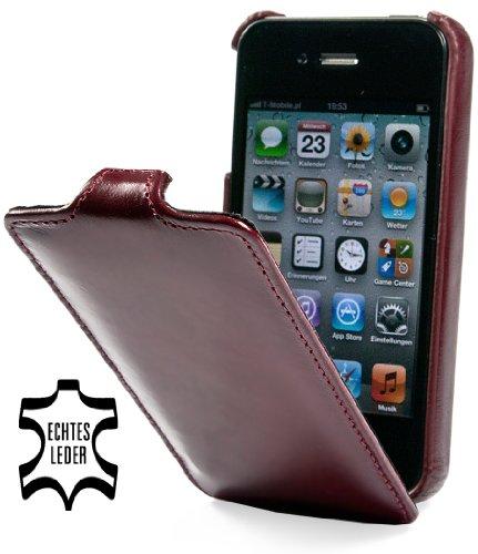 StilGut UltraSlim Case, Tasche aus Leder für Apple iPhone 4 & iPhone 4s, Weinrot