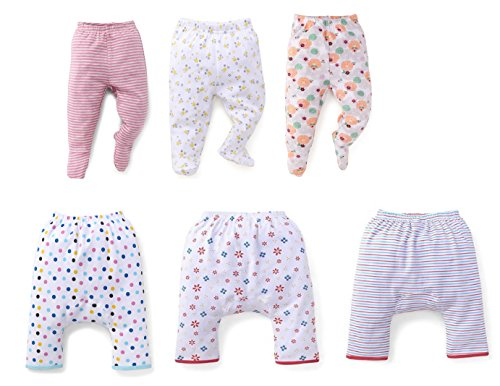NammaBaby Diaper Pajama & Leggings with Booties for New Born - Set of 6 (0-3 Months)