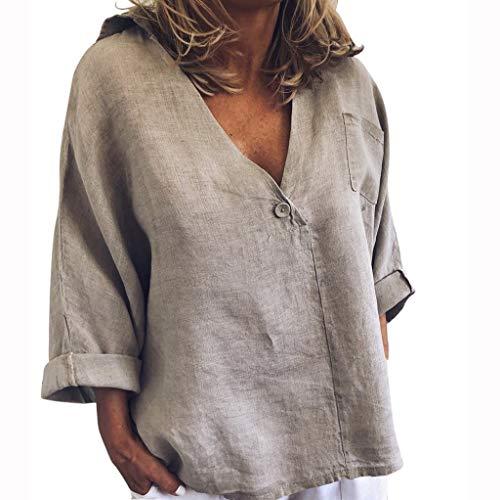 Übergröße Kostüm Billig Womens - Damen Bluse Elegant Grosse Grössen Langarm Solide V-Ausschnitt Frühling Sommer Unregelmäßige Lose Vintage Casual T-Shirt, Frauen Tops Fashion Sexy Baggy Pulli Hemd Womens Pullover