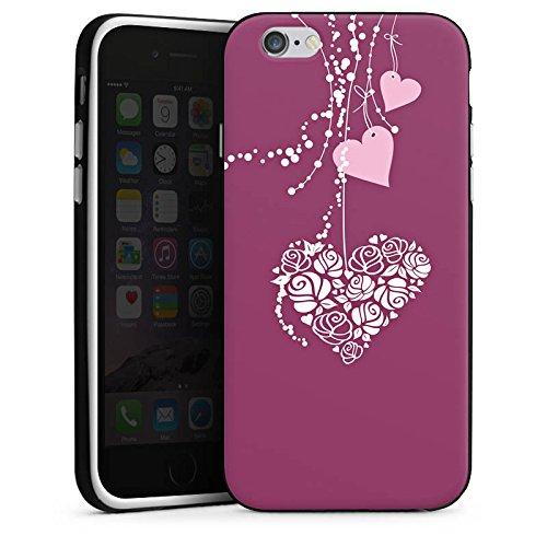Apple iPhone X Silikon Hülle Case Schutzhülle Love Muster Hängende Herzen Silikon Case schwarz / weiß