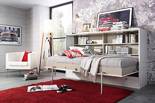 Schrankbett 90x200 Liegefläche in Weiß, Wandbett mit 4 Schubladen und Regalen ist die perfekte Lösung für gesunden Schlaf in kleinen Räumen