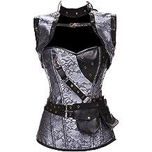 TDOLAH Damen Retro Gothic Steampunk Korsett mit Stahlstäbchen Brokatmuster mit Jacke und Gürtel
