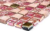 Mosaik-Netzwerk Quadrat Crystal/Stein mix rot/rosa/gold Glas Naturstein Fliesenspiegel, Mosaikstein Format: 15x15x8 mm, Bogengröße: 60 x 100 mm, 1 Handmuster ca. 6x10 cm