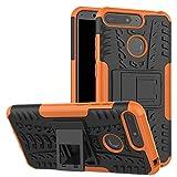 YFXP Huawei Honor 7A Hülle,Huawei Honor 7A Tasche Robuste Starke Markante Stoßfeste Panzer-Hülle Für Huawei Honor 7A Mit Panzerglas Orange