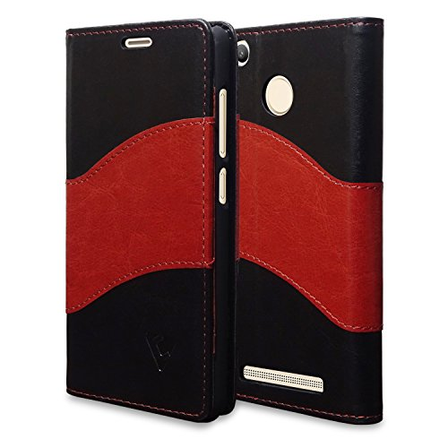 Ceego Dual Fusion Flip Cover for Xiaomi Redmi 3S Prime - [360 Degree Stitching] [Auto Magnetic Lock] - Card Currency Slot - 100% Premium Faux Leather Flip Case for Xiaomi Redmi 3S Prime (with Finger Print Sensor) (Black & Brown)