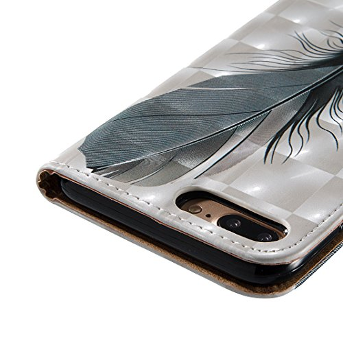 iPhone 7 Plus Schutzhülle Leder, iPhone 7 Plus Wallet Case, iPhone 7 Plus Hülle, iPhone 7 Plus Book Case, Moon mood® Brieftasche Ledertasche für Apple iPhone 7 Plus (5.5 Zoll) Tasche Hülle Leder Etui, Feder