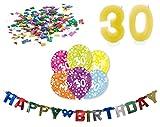 Happy Birthday 30 Geburtstag Deko-Set Girlande 6x-Ballons Geburtstags-Kerzen Konfetti