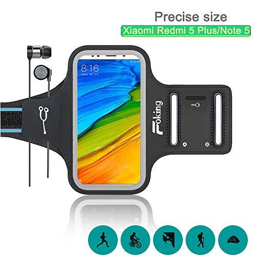 Foking Brazalete para Telefono Movil, Brazalete Deportivo para Xiaomi Redmi 5 Plus/Note 5,Multiusos, Adjustable en Diferentes Tamano, Design Seguro (2019 Version Mejorada)