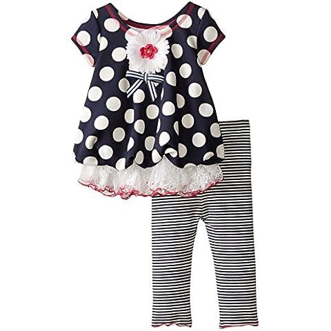 Bonnie Jean neonata punti estate palloncino Top abito + Leggings pantaloni a righe bianche e blu