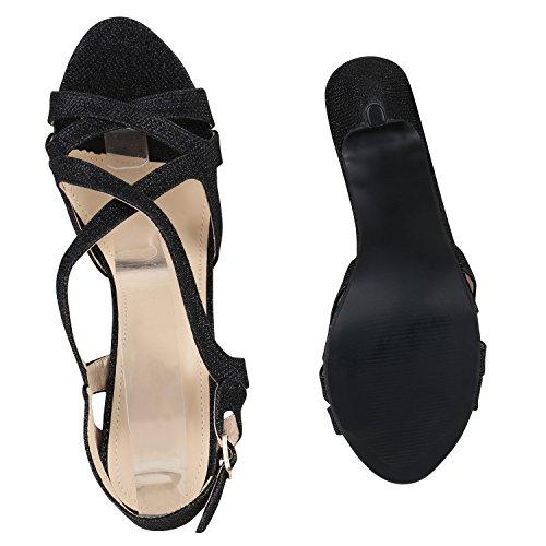 Damen Sandaletten Glitzer | Riemchensandaletten Lack | Party Schuhe Metallic | Stiletto Sandalen Strass Schwarz Riemchen