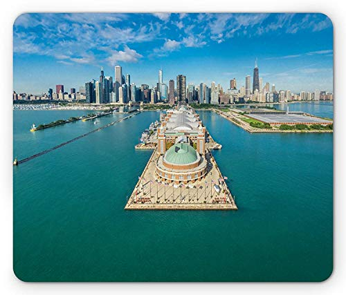 SHAQ Chicago Skyline Mouse Pad Mauspad, Aerial Panorama of Navy Pier Marine Metropolis Big City Silhouette View, Standard Size Rectangle Non-Slip Rubber Mousepad, Multicolor -