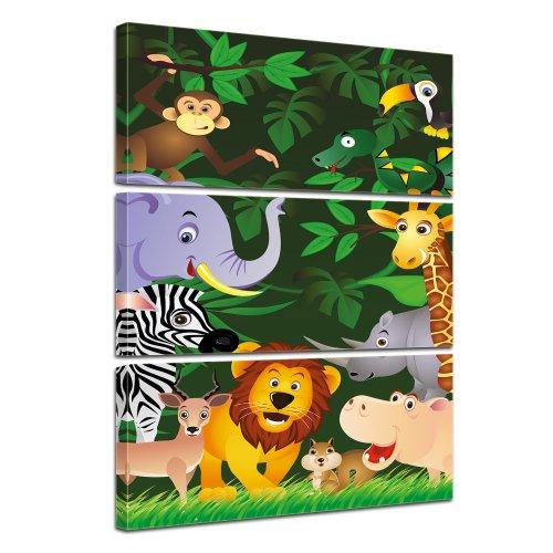 (Kunstdruck - Kinderbild - Lustige Tiere im Dschungel - Cartoon - Bild auf Leinwand - 80x120 cm 3tlg - Leinwandbilder - Bilder als Leinwanddruck - Wandbild von Bilderdepot24 - Kinder - Grafik - Regenwald - Afrika - Zoo - niedlich)