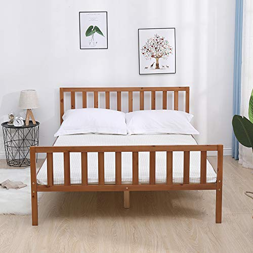 Home Source Bed, Pine Wood, Natural, 4ft 6 Double
