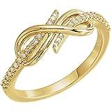 JewelryWeb Anillo de Oro Amarillo de 14 Quilates Pulido 0,13 DWT Diamante Estilo Infinito – Talla M 1/2