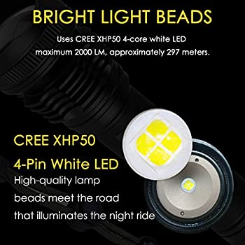 Led Taschenlampe, Aneken Superhelle Cree 2000 Lumen 5 Leuchtungsmodi Einstellbar Für Outdoor Sports Campen Wandern Fahrradfahren Und Notfälle 2