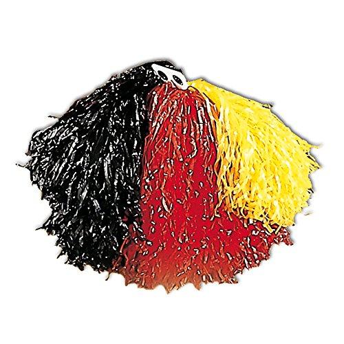 Pom, schwarz / rot / gelb (Fußball Cheerleader Kostüme)