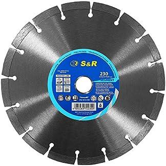 S&R Disco 230 Diamante x 22,2 x 10 2,6 mm para Hormigón, Hormigón armado, Granito, Piedra natural, Ladrillo