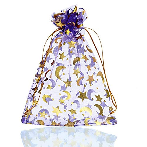 50 Stücke Lila Geschenk Taschen Gold Ton Mond Stern Beutel Lebensmittel Aufbewahrungstasche Schmuck Taschen Hochzeit Dekoration Gefälligkeiten Neue