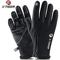 X-TIGER Guanti Invernali Antivento, Touchscreen Guanti Termici per Smartphone, per Moto MTB, Bici Ciclismo, Alpinismo Scooter, Bici, Camping e Outdoor per Uomo e Donna (Nero,XL)