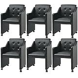 Festnight 6er-Set Essstühle Esszimmerstühle mit Armlehnen Esszimmersessel Küchenstuhl Kunstlederbezug Stuhl-Set 59x57,5x86,5cm Schwarz