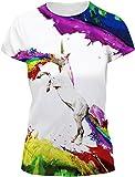 EUDOLAH Damen Sommer Shirt Bluse 3D Print Kurzarm Design Tops Hemd T-Shirt (Größe S, A-Regenbogen-Einhorn)