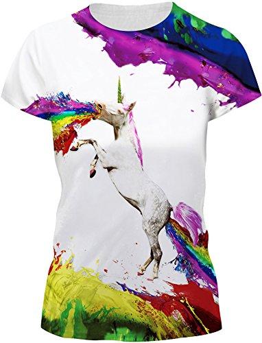 TDOLAH Damen Sommer Shirt Bluse 3D Print Kurzarm Design Tops Hemd T-Shirt (Größe 3XL, A-Regenbogen-Einhorn)