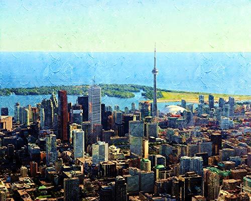 SINABC Mosaik Diamond Painting Set Groß Toronto Kanada Landschaft Runder Bohrer Handwerk Hobbies Angst Lindern Kreativität Entdecken Frameless 40X50Cm - Entdecken Kanada