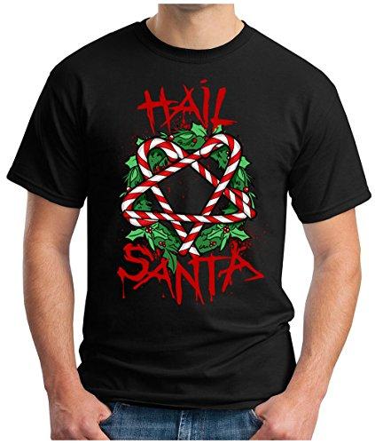 OM3 - HAIL-SANTA - T-Shirt BLOOD SANTA CLAUS SATAN BLACK METAL 666 PENTAGRAM FUCKING XMAS GEEK, S - 5XL Schwarz