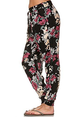 Damen Sommerhose (XL/XXL, Blumenranke Schwarz) (Blumen-print-hose)