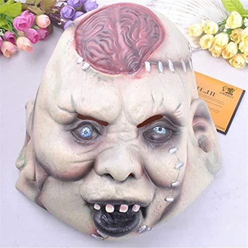 ILYMJ Halloween-Horrorgesicht, das Gehirnmaske-Latexhaube beängstigende faule Zombie-Tanzshow-Stützen birst Masken