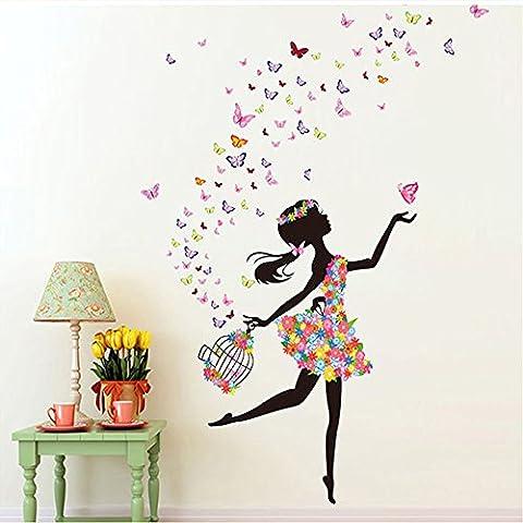 Docliick® Vinilos infantiles o decorativos de un Hada bailando con flores, para dormitorio de niño o niña, reutilizable, no deja