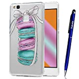 Cover Huawei P9 Lite, Yokata TPU Silicone Custodia Trasparente Crystal Clear Coque Soft Morbido Bumper Backcover Kawaii Cartoon Hülle Strane Case et Ultra Slim Protettivo Cover + 1*Penna Stilo - Macaron