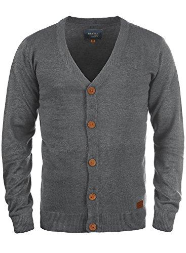 BLEND Lennard Herren Cardigan Strickjacke aus hochwertiger Baumwoll-Mischung, Größe:L, Farbe:Pewter Mix (70817)