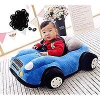 HOME STREAK Soft Plush Cartoon Shape Cushion Baby Sofa Seat or Rocking Chair for 0-2 Years Kid (Blue Car)
