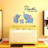 Creatick Studio 'Home Decor' Kids Decorative Wall Sticker (Elephant Family PVC Vinyl,75 CM X 55 CM)