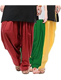 Crafts 100% Pure Solid Cotton Semi Patiala Salwar Bottoms Indoor Outdoor For Women's & Girls( Color Maroon / Green...