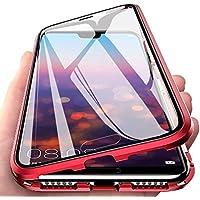 CoqueCase Funda para Samsung S10 Plus, Adsorción Magnética 360 Grados Protección Carcasa Samsung S10 Plus Transparente Ambos Lados Vidrio Templado Anti Choque Case Rojo