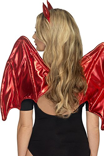 Smiffys Fever Damen Teufel Sofort Kit, Flügel und Hörner, One Size, Rot, 43007