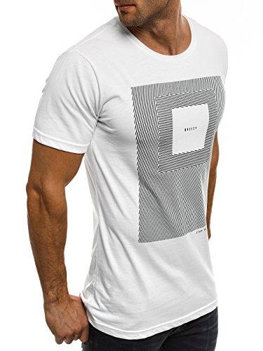 OZONEE Herren T-Shirt mit Motiv Kurzarm Rundhals Figurbetont BREEZY 301 Weiß_BREEZY-304
